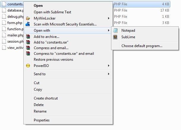 Tambah Program Dalam Senarai Open With